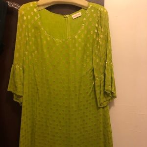 Neon green and gold shift dress Size Large